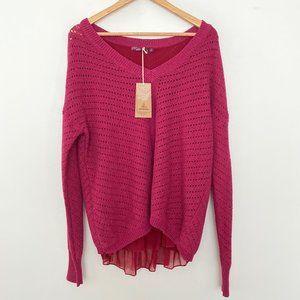 NEW Prana Large Ellery Sweater V Neck Plum Red